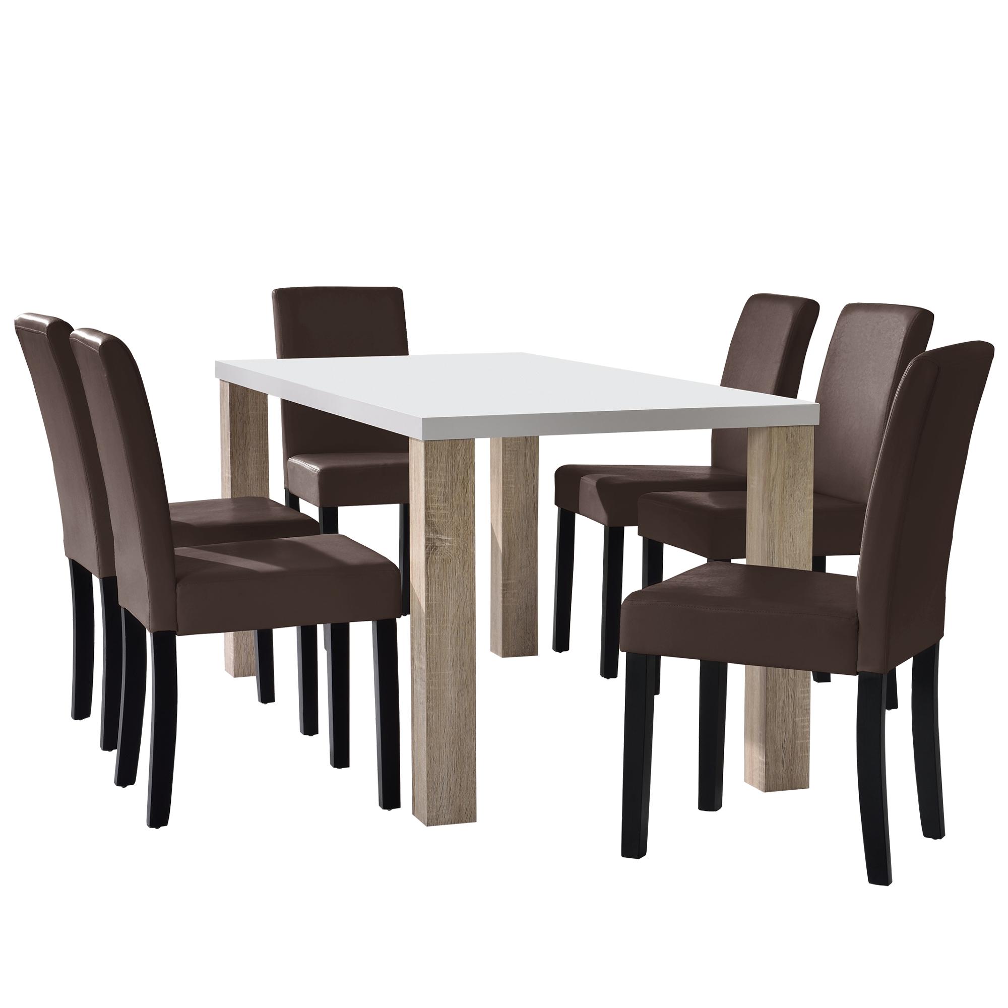 en.casa® Esstisch weiß 160x90 mit 6er Set Stühle Esszimmerset ...