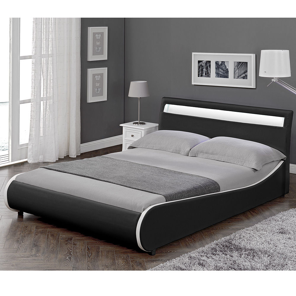 corium design led polsterbett 140 180 x 200cm kunst leder doppel ehe bett ebay. Black Bedroom Furniture Sets. Home Design Ideas