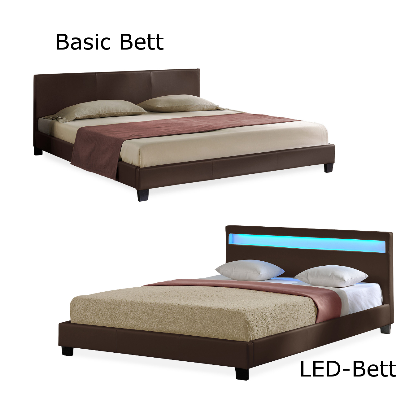 corium led polsterbett 140 160 180 x 200cm kunst leder doppel bett mit matratze ebay. Black Bedroom Furniture Sets. Home Design Ideas