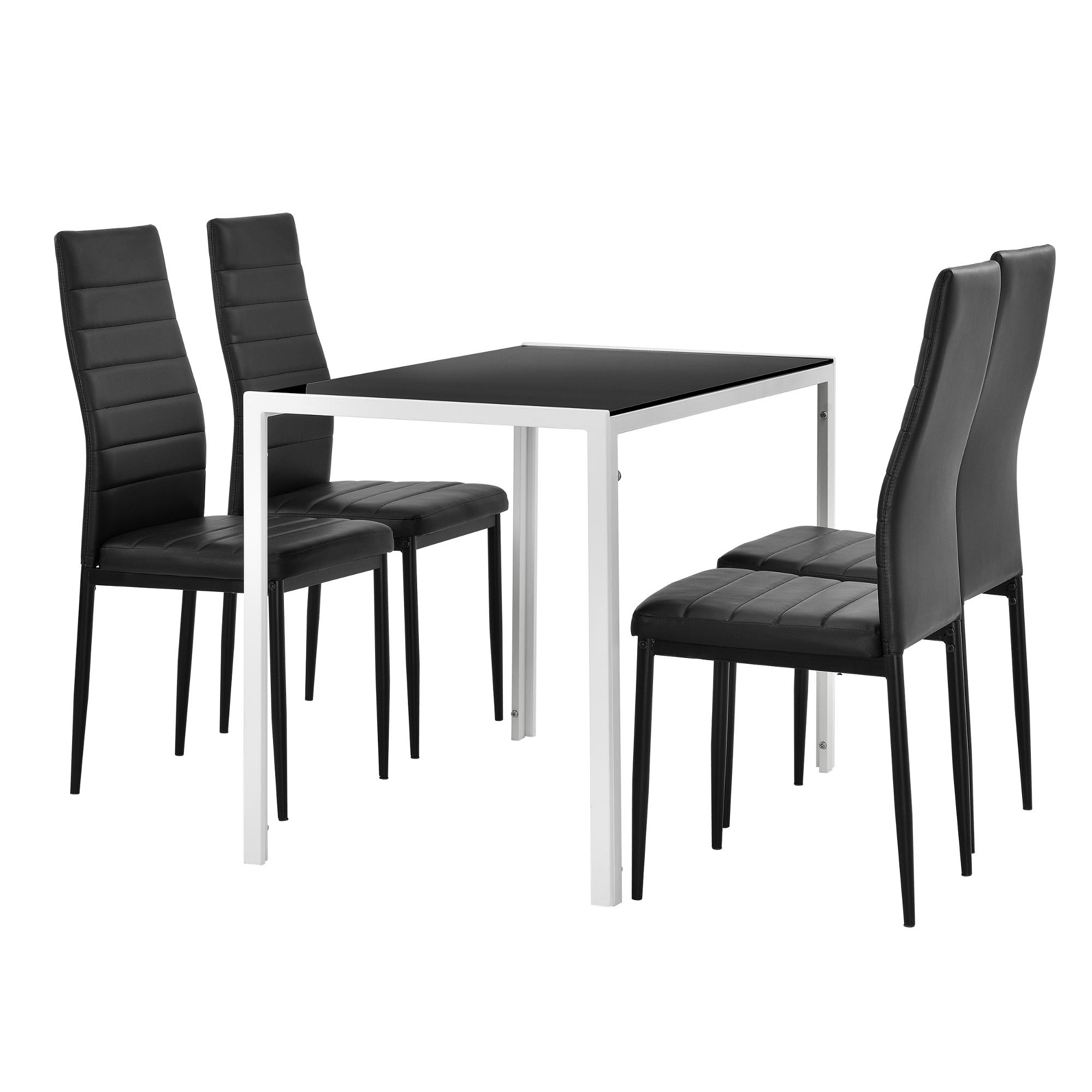 en.casa] Esstisch 105x60cm mit 4er Set Stühle Esszimmerset ...