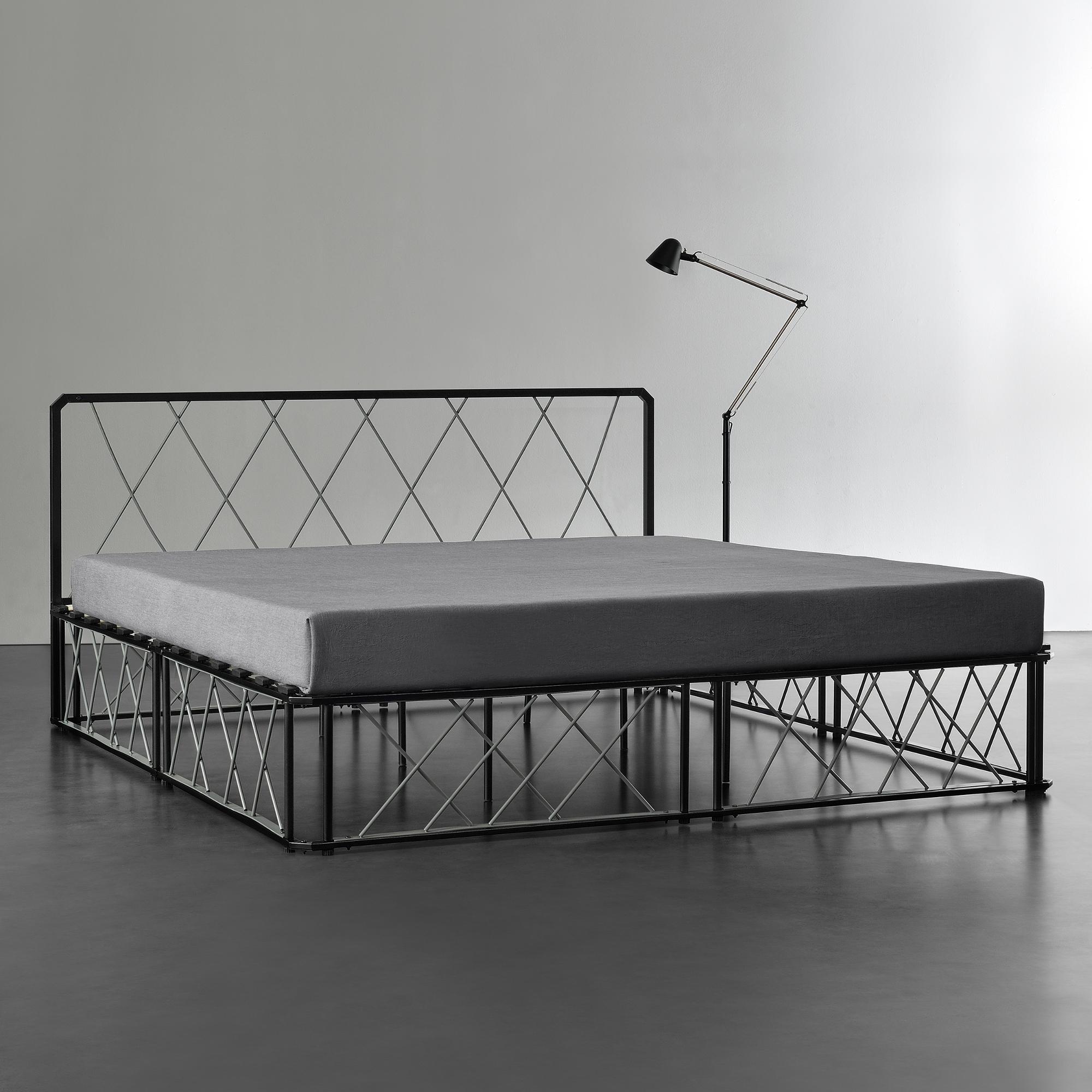 en.casa] Metallbett 140 180 x200 Schwarz/Grau Matratze Design Bett ...
