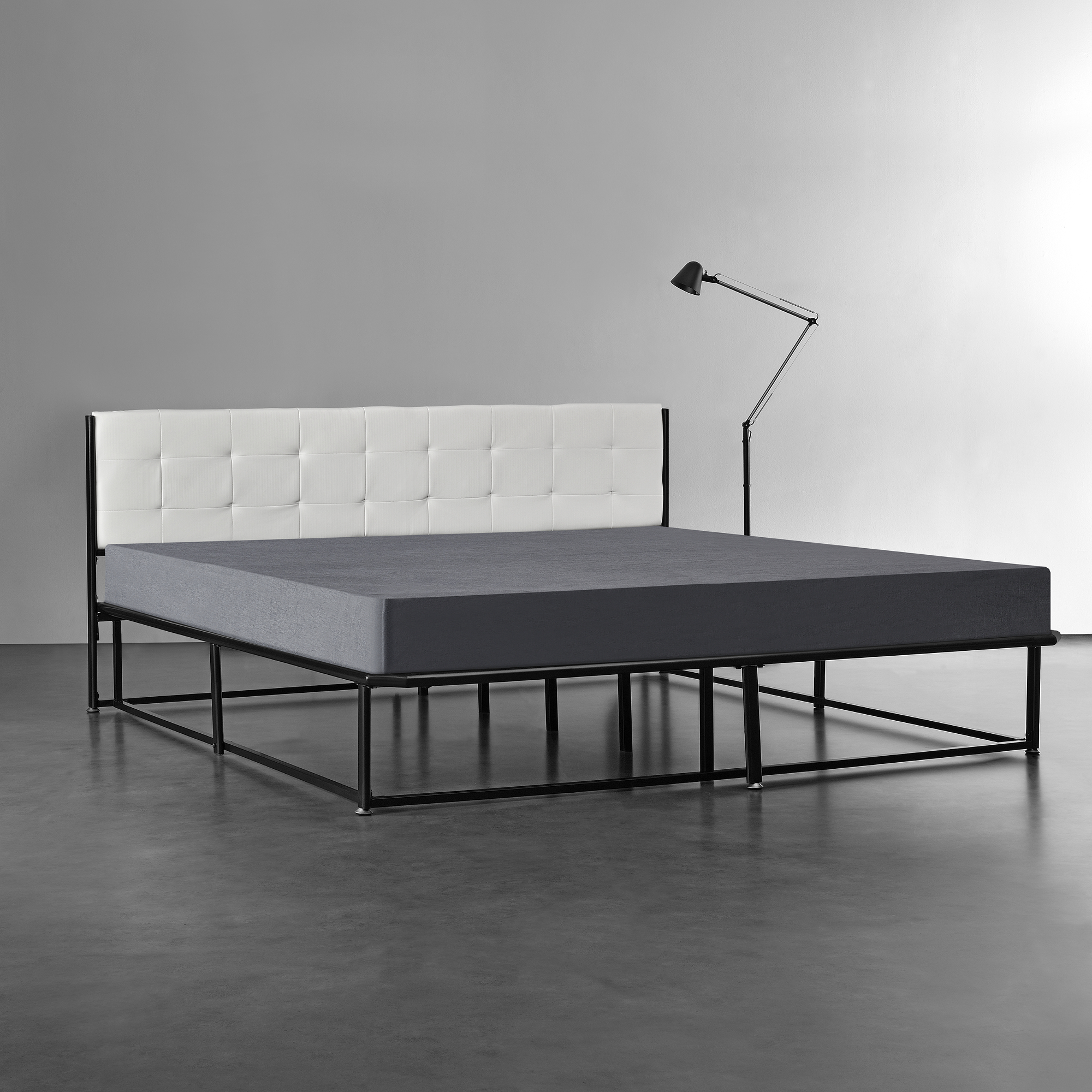 metallbett 140 180 x 200 schwarz grau matratze bett kunstleder textil ebay. Black Bedroom Furniture Sets. Home Design Ideas