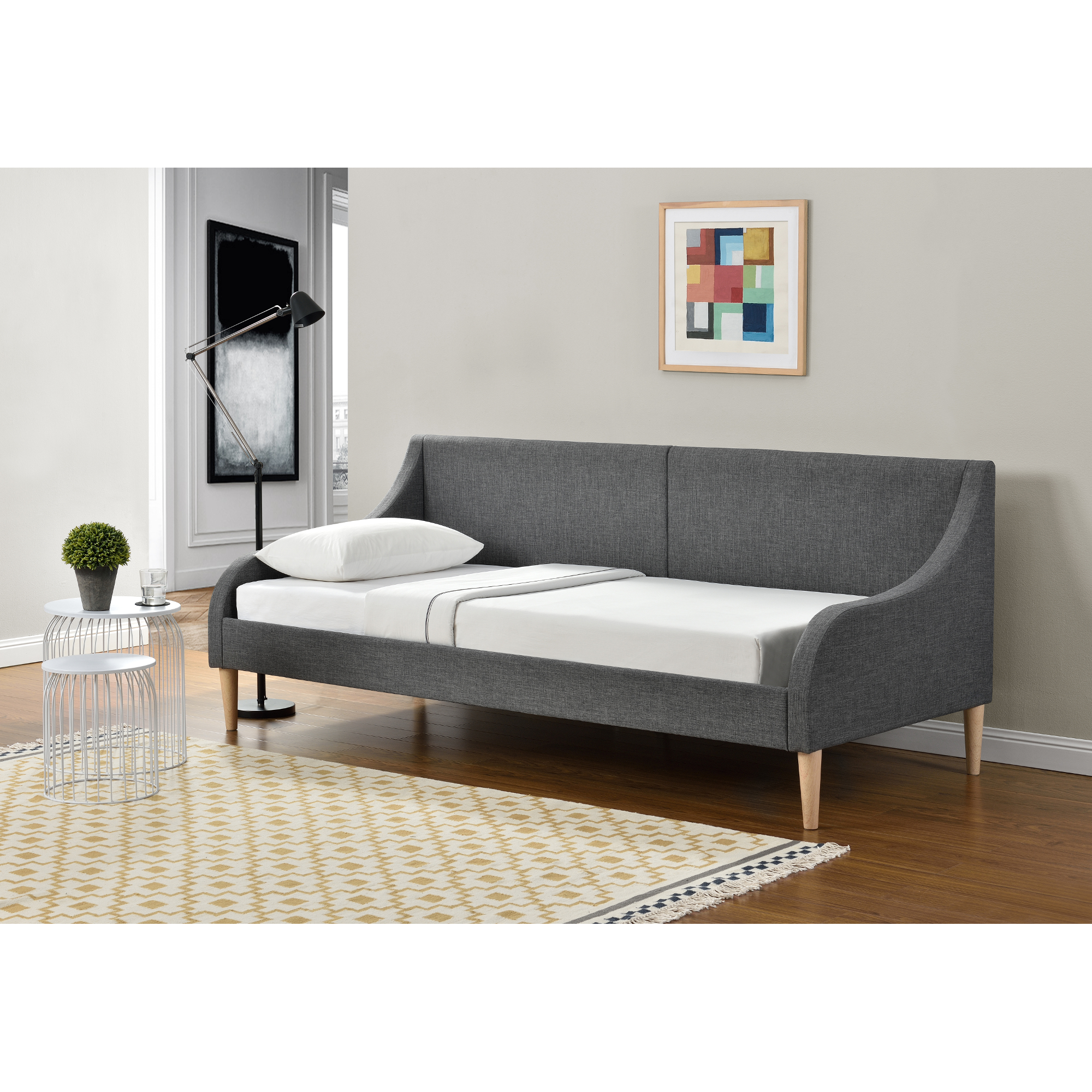 en casa day bed with mattress 90 x 200 cm sofa bed fabric bed frame ebay. Black Bedroom Furniture Sets. Home Design Ideas